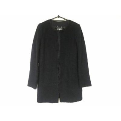 ハロッズ HARRODS コート サイズ1 S レディース 美品 黒 ツイード/ノーカラー/冬物【中古】20200711