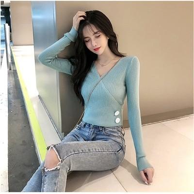 2019秋新作 レディース ニット セーター 長袖 トップス シャツ ブラウス 韓国ファッション キレイ