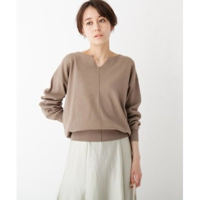 FINEST COTTON キーネックデザインニット【WEB限定カラー・サイズ】