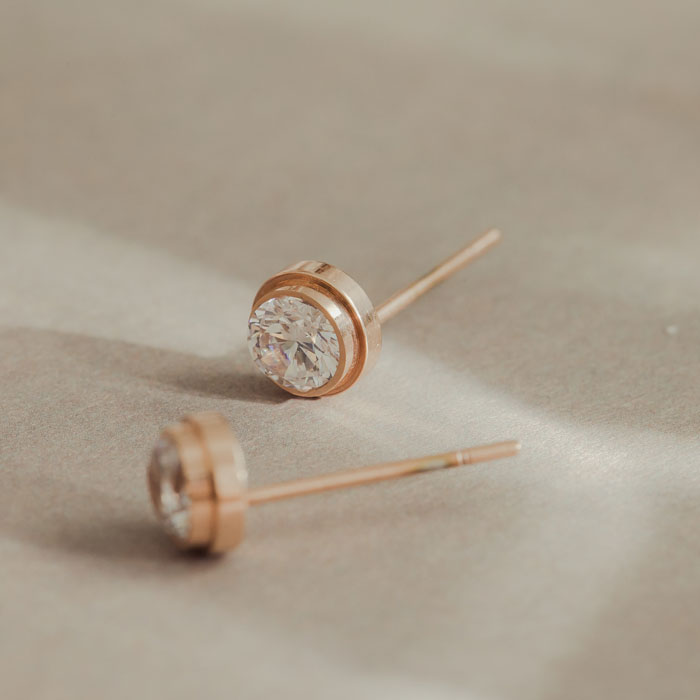 |純鋼|玫瑰色圓鑽.鋼針耳環
