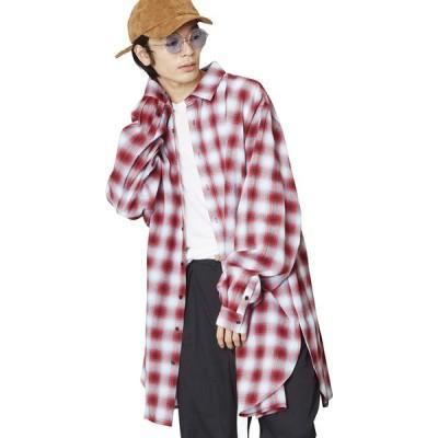 (アンリラクシング) Unrelaxing オーバーサイズシャドーチェックシャツ コットンチェックシャツ UR-594 FREE レッド UR-594