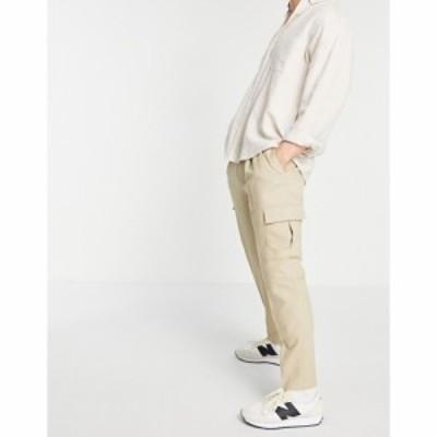 トップマン Topman メンズ カーゴパンツ ボトムス・パンツ tapered cargo trousers in stone ベージュ