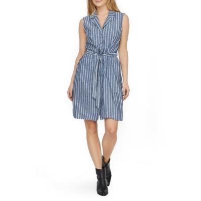 ヴェロモーダ ワンピース トップス レディース Sandy Stripe Sleeveless Organic Cotton Shirtdress Medium Blue Denim