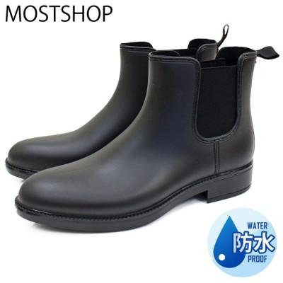 MOSTSHOP レインブーツ メンズ ショートブーツ サイドゴア ブーツ PU フェイクレザー ブラック LL メンズ・レディース