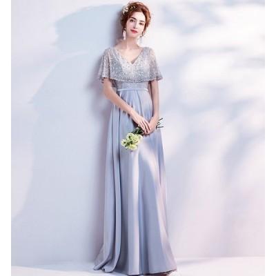 パーティードレス レディース ロングドレス 上品なイブニングドレス 披露宴 発表会ドレス 素敵な 演奏会 結婚式 二次会ドレス