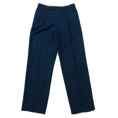 古着 スラックス パンツ 3タック ネイビー サイズ表記:--