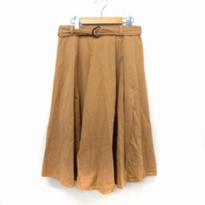【中古】ドレスキップ DRESKIP スカート フレア 膝下丈 紐ベルト シンプル L ベージュ /ST8 レディース