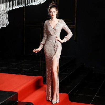 パーティードレスイブニングドレス可愛い安いワンショルダーキャバロングスリットナイトクラブスパンコール