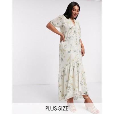 ホープアンドアイビー ドレス 大きいサイズ レディース Hope & Ivy Plus exclusive button front maxi dress with high low hem in soft floral エイソス AS