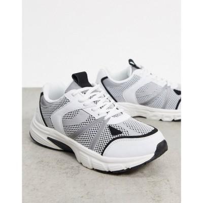 エイソス レディース スニーカー シューズ ASOS DESIGN Dawson lace up sneakers in white & black White/black