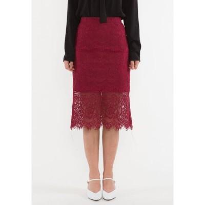 ベベージュ Bebebeige レディース ひざ丈スカート ペンシルスカート スカート Rockabilly Ruffled Lace Pencil Midi Skirt RED