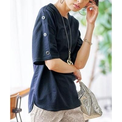 tシャツ Tシャツ 涼感素材ボタンデザインプルオーバー