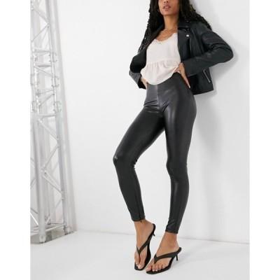 プルアンドベアー レディース カジュアルパンツ ボトムス Pull&Bear faux leather pants in black