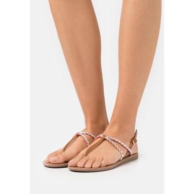 レディース サンダル ONLMAYA BRAID - T-bar sandals - coral