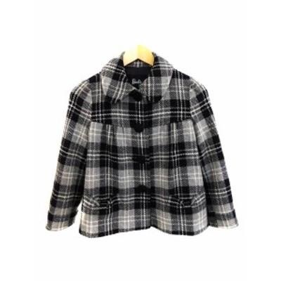 【中古】バービー Barbie コート ジャケット ステンカラー チェック ウール ショート 長袖 S 黒 グレー レディース
