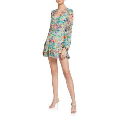 サローニ レディース ワンピース トップス Alya Heart-Print V-Neck Cocktail Dress