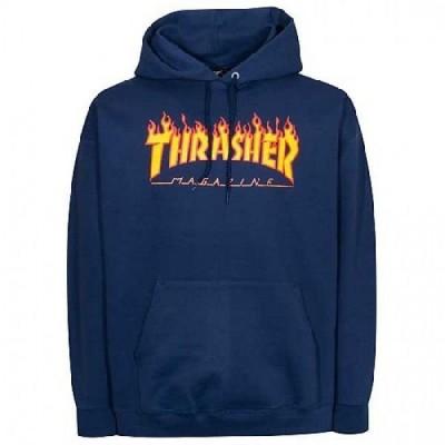 THRASHER / スラッシャー FLAME LOGO プルオーバー パーカー NAVY ネイビー