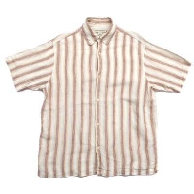 オールド バナナリパブリック バナリパ リネン ストライプ 半袖シャツ サイズ表記:M
