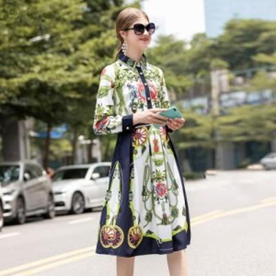 襟付き マルチカラー プリント柄 個性的 ウエストマーク エレガント Aライン 膝丈 ドレス