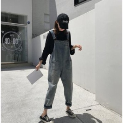 韓国ファッション オーバーオール デニム サロペット ボトムス レディース 無地 おしゃれ かわいい ゆったり 大きいサイズ