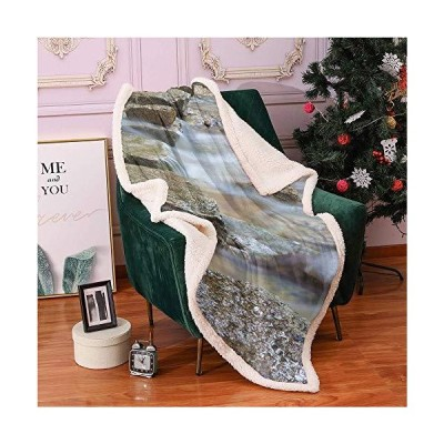"River Rock Sherpa Blankets 60""X80"",Close up Photo of Natural Stepping Stones Mountain Stream Pattern Lightweight Fluffy Flannel,All Season P"