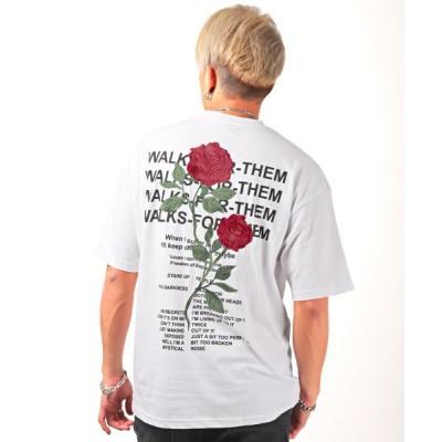 (LUXSTYLE/ラグスタイル)薔薇刺繍ルーズBIG半袖Tシャツ/Tシャツ メンズ 半袖 ビッグシルエット バックプリント ロゴ 刺繍/メンズ ホワイト系1