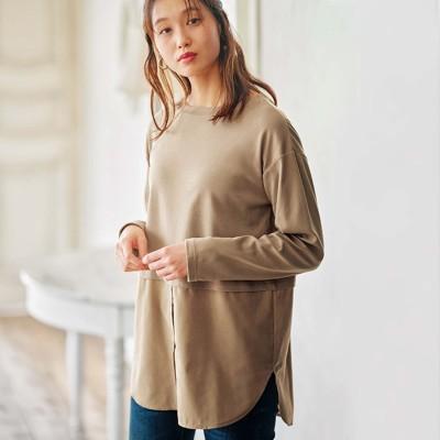 ジーラ GeeRA 綿100%あったか素材裾シャツトップス (ベージュ)