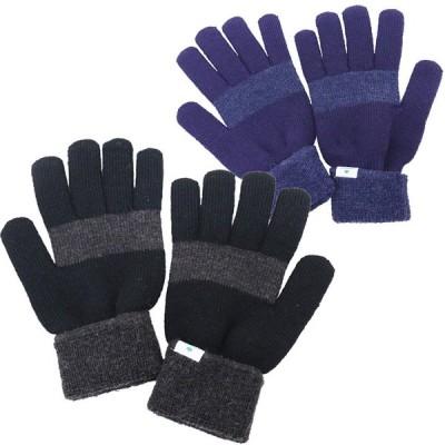 手袋 メンズ 5本指 ニット手袋 紳士用手袋 2カラー配色 ボーダー柄 LOGOS ロゴス ネコポス対応 全国送料無料