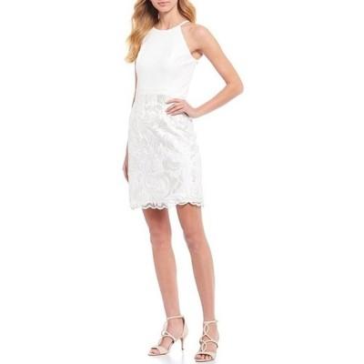 ヴィンスカムート レディース ワンピース トップス Sleeveless Halter Embroidered Skirt Sheath Dress