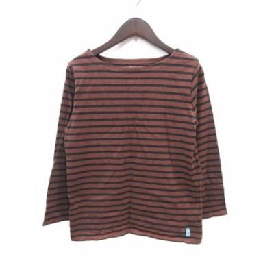 【中古】フォーク&スプーン Tシャツ カットソー バスクシャツ ボートネック 長袖 ボーダー 02 茶 ブラウン 黒