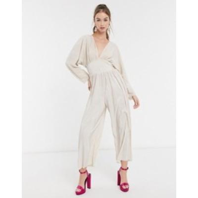 エイソス レディース ワンピース トップス ASOS DESIGN kimono sleeve plisse jumpsuit in cream Champagne