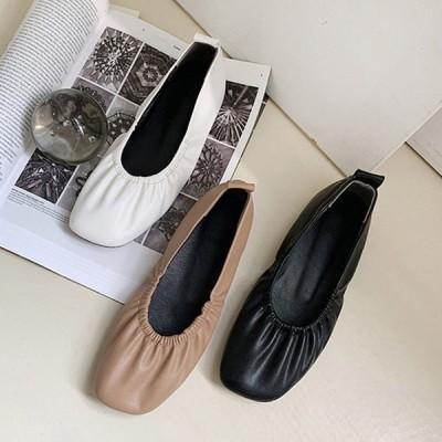 バレエシューズ フラットシューズ パンプス レディース スクエアトゥ ぺたんこ ペタンコ シャーリング 靴 婦人靴 黒 ブラック ココア 白 ホワイト