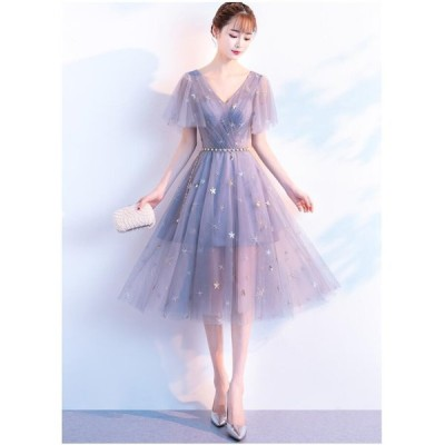 ドレス 袖あり 二次会 司会 成人式 二次会ドレス パーティー 大きいサイズ お呼ばれ 2020新品 エレガント イブニングドレス ミディアム丈ドレス 卒業式