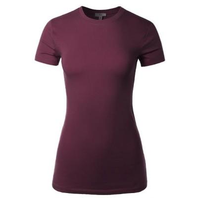 キッズ 衣類 トップス A2Y Women's Junior Fit Basic Solid Cotton Short Sleeve Crew Neck T Shirt Tee Tops Dark Plum S ブラウス&シャツ