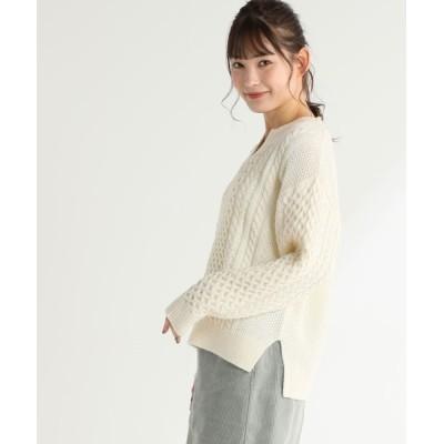 Honeys / ケーブル編キーネック WOMEN トップス > ニット/セーター