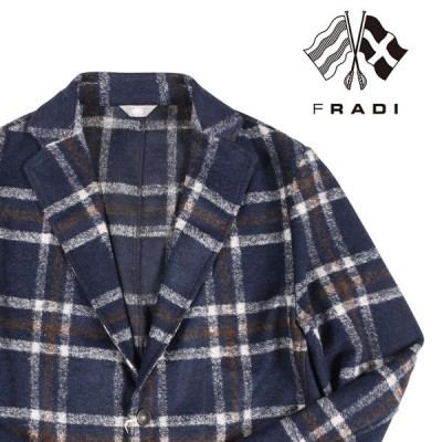 【48】 FRADI フラディ ジャケット メンズ 秋冬 ヴァージンウール混 チェック ネイビー 紺 並行輸入品 アウター トップス
