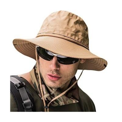 サファリハット メンズ 【UPF50+ UVカット率99% 日焼け防止】 ハット 帽子 2WAY 大きいサイズ つば広 軽薄 通気性 日除け 紫外線対