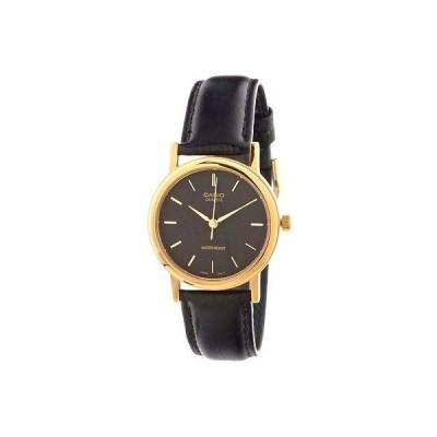 カシオ 腕時計  Casio MTP1095Q-1A メンズ ブラック レザー カジュアル ドレス 腕時計 ブラック ダイヤル クォーツ