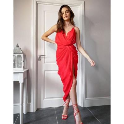 エイソス ミディドレス レディース ASOS DESIGN midi chiffon drape dress with structured bodice エイソス ASOS レッド 赤