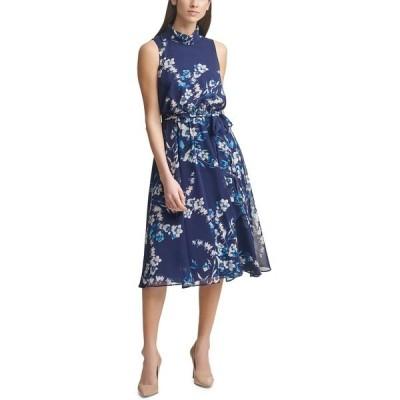 ハーパーローズ ワンピース トップス レディース Floral-Print Chiffon Midi Dress Navy