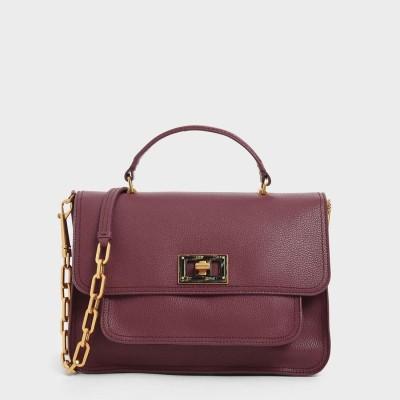 ラージレジンエフェクト バックルバッグ / Large Resin-Effect Buckle Bag (Burgundy)