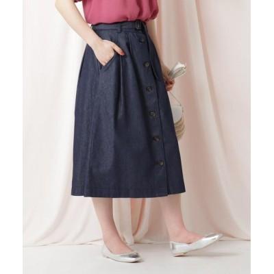 Couture Brooch/クチュールブローチ 【WEB限定サイズ(LL)あり/洗える】デニムライクスカート ネイビー(093) 38(M)