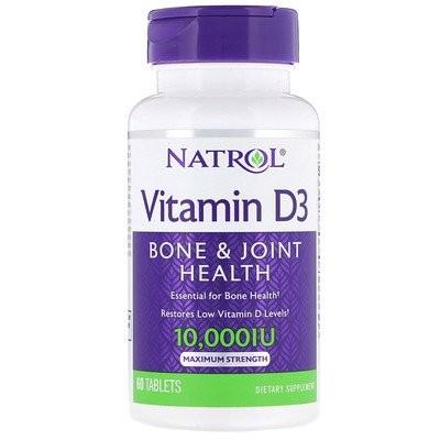 ビタミンD3、マキシマムストレングス、10,000IU、タブレット60粒