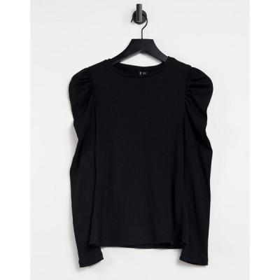 ヴェロモーダ Vero Moda レディース トップス Ribbed Top With Puff Sleeves In Black ブラック