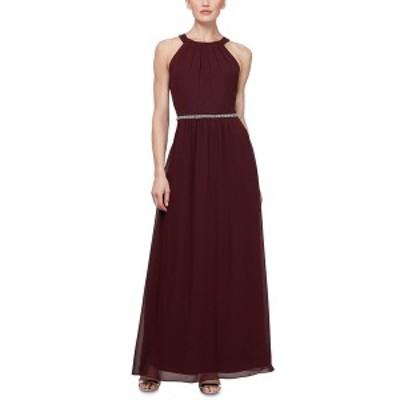 エス エル ファッションズ レディース ワンピース トップス Embellished-Waist Halter Gown Fig