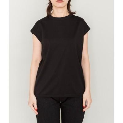 (PRE SALE/返品・交換不可)handvaerk ハンドバーク WOMEN'S 60/2 crew neck sleeveless t-shirt(BLACK)