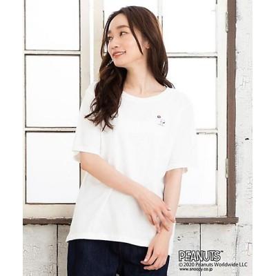 <sab street my standard(Women/大きいサイズ)/サブストリート マイスタンダード> PEANUTS/SNOOPY ラグビー刺繍Tシャツ アイボリー(01)【三越伊勢丹/公式】