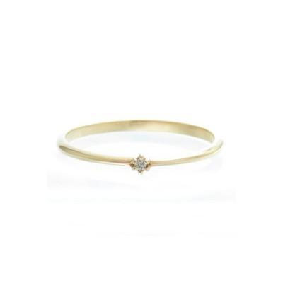 K10 ダイヤモンド リング 選べる金色 硬化処理 華奢な 細身 重ね付け リング 6本爪 デザインリング