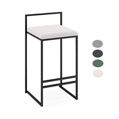HLL Stools,Chair Elegant Home Morden Upholstered Bar Stools with Back Counter Height Barstools Chairs for Kitchen, 4 Colors,White,66Cm