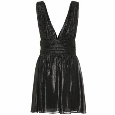 イヴ サンローラン Saint Laurent レディース パーティードレス ワンピース・ドレス Metallic silk-blend minidress Noir
